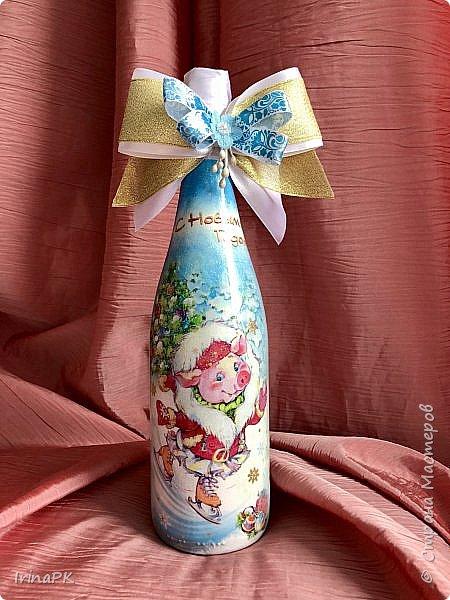Сделала бутылки к Новому году Свиньи!!! фото 12