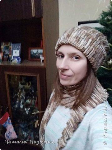 Снова перевязала надоевшие вещи. Функционал особо не изменился: были шапка и шарф, стали шапка и бактус волнорез. фото 2