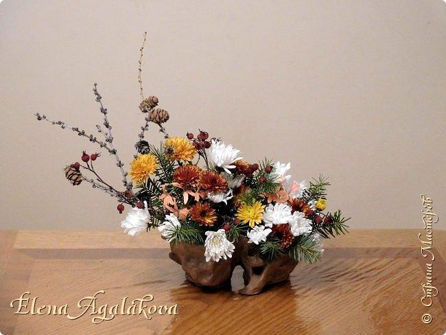 Добрый день! Сегодня я к вам снова с композициями из цветов. Зимой особенно хочется цветов и красок!  Этим летом я решила осуществить еще одну свою мечту - научится цветочному дизайну. Очень люблю цветы, травки-муравки, деревья и вообще все растения. Очень увлекательно работать с цветами! Я взяла небольшой курс по цветочному дизайну. Дома делаю оранжировки из того что под рукой, беру цветы которые найду, даже полевые и из своего садика. Конечно сейчас все цветы в садике отцвели... поэтому приношу из магазина где работаю. Другие композиции делала для цветочного магазина где начала работать. Делюсь красотой! фото 18