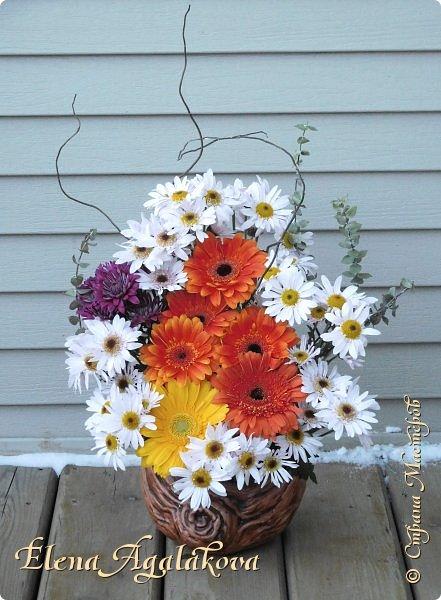 Добрый день! Сегодня я к вам снова с композициями из цветов. Зимой особенно хочется цветов и красок!  Этим летом я решила осуществить еще одну свою мечту - научится цветочному дизайну. Очень люблю цветы, травки-муравки, деревья и вообще все растения. Очень увлекательно работать с цветами! Я взяла небольшой курс по цветочному дизайну. Дома делаю оранжировки из того что под рукой, беру цветы которые найду, даже полевые и из своего садика. Конечно сейчас все цветы в садике отцвели... поэтому приношу из магазина где работаю. Другие композиции делала для цветочного магазина где начала работать. Делюсь красотой! фото 7