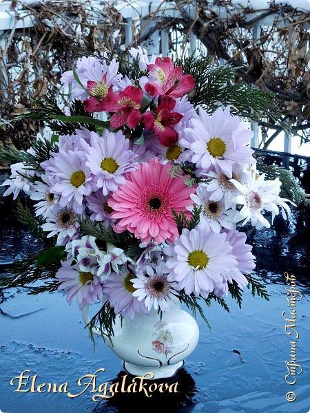 Добрый день! Сегодня я к вам снова с композициями из цветов. Зимой особенно хочется цветов и красок!  Этим летом я решила осуществить еще одну свою мечту - научится цветочному дизайну. Очень люблю цветы, травки-муравки, деревья и вообще все растения. Очень увлекательно работать с цветами! Я взяла небольшой курс по цветочному дизайну. Дома делаю оранжировки из того что под рукой, беру цветы которые найду, даже полевые и из своего садика. Конечно сейчас все цветы в садике отцвели... поэтому приношу из магазина где работаю. Другие композиции делала для цветочного магазина где начала работать. Делюсь красотой! фото 11
