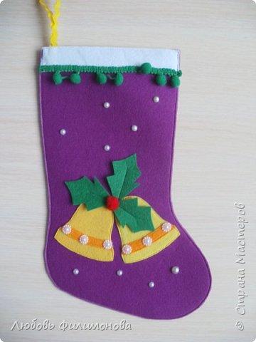 Всех жителей Страны с наступившим Рождеством. Хочу показать вам последнюю партию Рождественских сапожек. Делала из фетра, для подарка родным Можно использовать для декора квартиры, упаковки подарка. фото 8