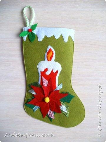 Всех жителей Страны с наступившим Рождеством. Хочу показать вам последнюю партию Рождественских сапожек. Делала из фетра, для подарка родным Можно использовать для декора квартиры, упаковки подарка. фото 7
