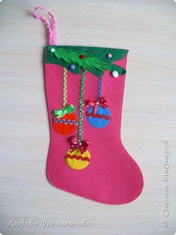 Всех жителей Страны с наступившим Рождеством. Хочу показать вам последнюю партию Рождественских сапожек. Делала из фетра, для подарка родным Можно использовать для декора квартиры, упаковки подарка. фото 6