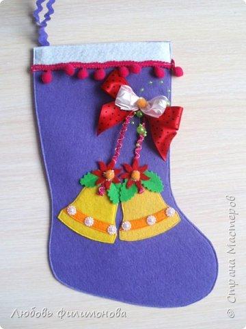 Всех жителей Страны с наступившим Рождеством. Хочу показать вам последнюю партию Рождественских сапожек. Делала из фетра, для подарка родным Можно использовать для декора квартиры, упаковки подарка. фото 4