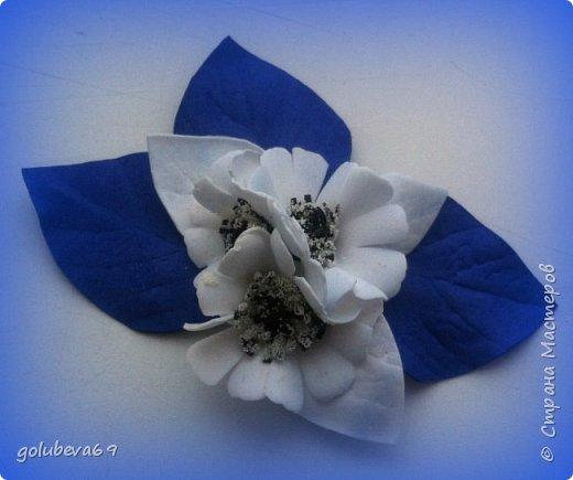 Брошь из фоамирана с голубыми цветами фото 2