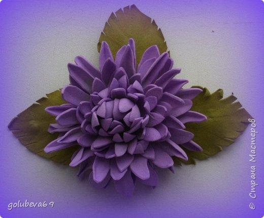 Брошь из фоамирана с голубыми цветами фото 7