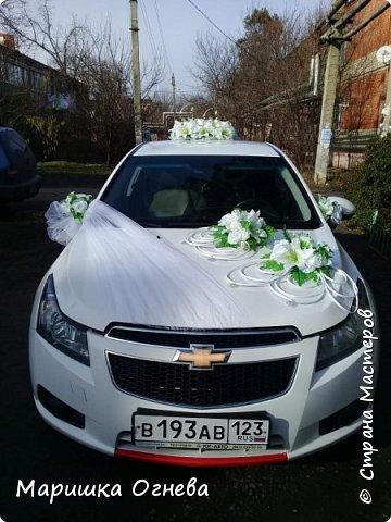 Много)) Свадебных  украшений на авто фото 6