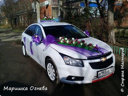 Много)) Свадебных  украшений на авто фото 7