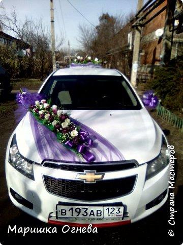 Много)) Свадебных  украшений на авто фото 10