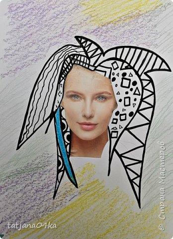 учились рисовать лица,,,кто не смог спарвиться тому выдала журналы,попросила найти лица и оформить причёски в виде орнаментов фото 2