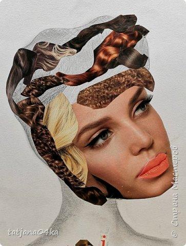 учились рисовать лица,,,кто не смог спарвиться тому выдала журналы,попросила найти лица и оформить причёски в виде орнаментов фото 4