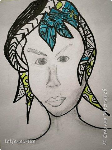 учились рисовать лица,,,кто не смог спарвиться тому выдала журналы,попросила найти лица и оформить причёски в виде орнаментов фото 7