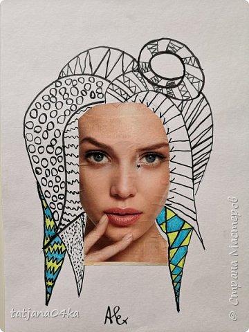 учились рисовать лица,,,кто не смог спарвиться тому выдала журналы,попросила найти лица и оформить причёски в виде орнаментов фото 12