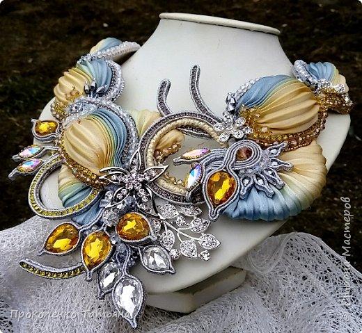 """Колье""""Юлия""""сутажное колье с лентой шибори,сделано на заказ. фото 9"""