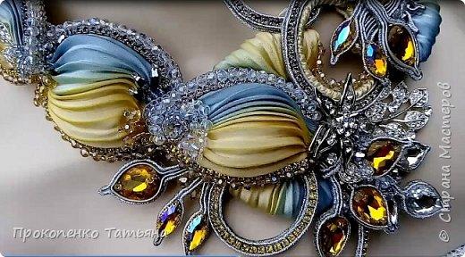 """Колье""""Юлия""""сутажное колье с лентой шибори,сделано на заказ. фото 4"""