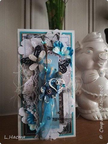 С возвращением меня! )) Почти год открыток не делала((( Ну что ж продолжим....Золото на голубом..... Сдержанный черный, пронзительный голубой и всеобъемлющий белый. Открытка на свадьбу. фото 1