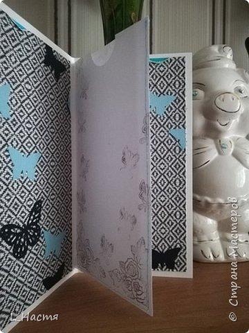 С возвращением меня! )) Почти год открыток не делала((( Ну что ж продолжим....Золото на голубом..... Сдержанный черный, пронзительный голубой и всеобъемлющий белый. Открытка на свадьбу. фото 3