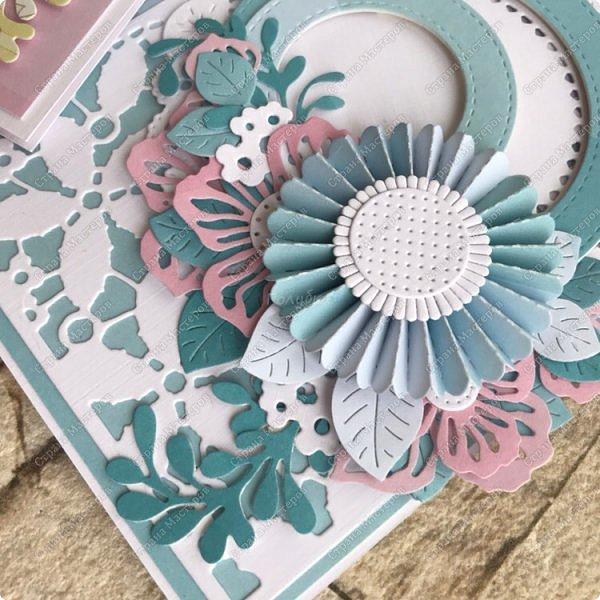 """В рамках заказа к 8 марта, где меня просили  не очень много повторов делать:) я сделала вот такие открытки с розетками, или с цветочками  в технике """" гармошка"""". Это 1/5 заказа:) фото 3"""
