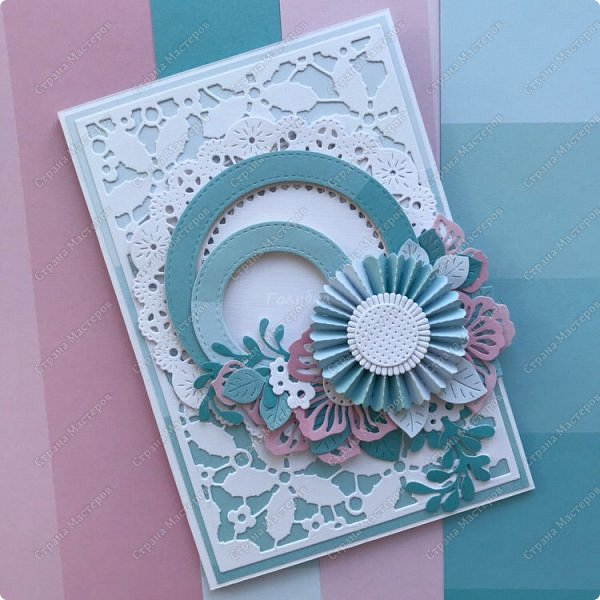 """В рамках заказа к 8 марта, где меня просили  не очень много повторов делать:) я сделала вот такие открытки с розетками, или с цветочками  в технике """" гармошка"""". Это 1/5 заказа:) фото 2"""