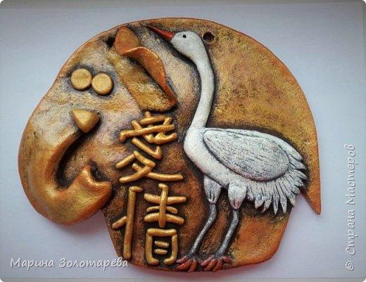 Здравствуйте, друзья! Идею этого интересного триптиха подсмотрела тут , в СМ.  Это композиция с восточными слонами и символами, обозначающими ЗДОРОВЬЕ (бамбук), СЕМЬЮ (лотос), ЛЮБОВЬ(журавль).  фото 6