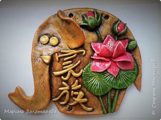 Здравствуйте, друзья! Идею этого интересного триптиха подсмотрела тут , в СМ.  Это композиция с восточными слонами и символами, обозначающими ЗДОРОВЬЕ (бамбук), СЕМЬЮ (лотос), ЛЮБОВЬ(журавль).  фото 5