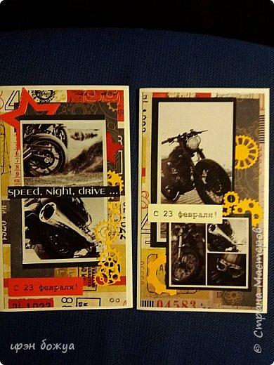 Я продолжаю загружать свои работы сделанные за 3 мес. Это открытки на 23 февраля, но можно также изменив надпись подарить мужчине на день рождение. Я уже писала ранее, что иногда использую для открыток картинки с обложек тетрадок. Так вот это тот самый случай,когда использована 1 обложка от новой тетрадки. Получилось 2 открытки. Подложка из скрапбумаги, вырубкия6 звезды,шайбы,гайки.