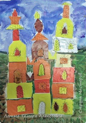 """Изучали с юными художниками тёплые и холодные цвета. В качестве проверки дала задание """"построить замок волшебника или волшебницы"""" используя только тёплые или холодны цвета."""