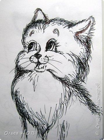рисунки в очереди и валяный котик