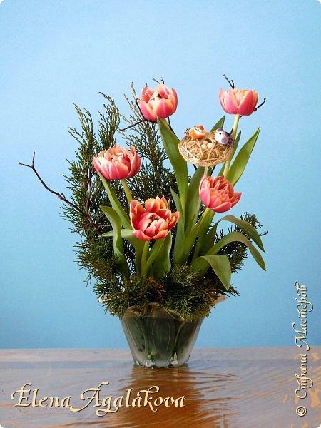 Добрый день! Сегодня я к вам снова с Весенними композициями из цветов. Весна пришла и особенно хочется цветов и красок! Прошлым летом я решила осуществить еще одну свою мечту - научится цветочному дизайну. Очень люблю цветы, травки-муравки, деревья и вообще все растения. Очень увлекательно работать с цветами! Я взяла небольшой курс по цветочному дизайну. Дома делаю оранжировки из того что под рукой, беру цветы которые найду, даже полевые и из своего садика. Конечно сейчас цветов в садике нет, но есть разные веточки, травинки... использую цветы из цветочного магазина где работаю. Делюсь красотой! фото 6