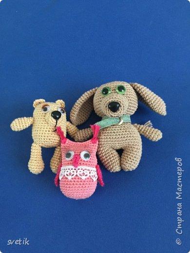 Собрала последние игрушки из связанных запчастей Мишка и совушка на основе бочонков от киндер- сюрпризов. Собака побольше)