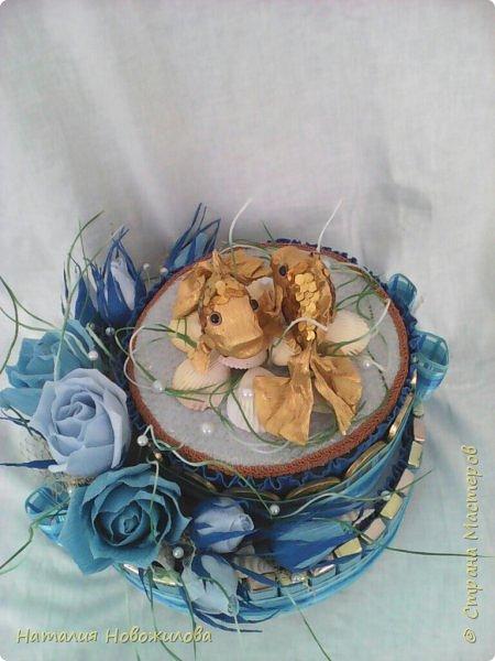"""Снова зодиакальный знак """"РЫБЫ"""" двух ярусный тортик-шкатулка на юбилей фото 3"""