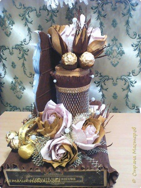 Мудрая сова с золотым пером для директора школы, подарок на день рождения: оформление банки кофе и коробки печенья. Золотое перо из шоколадок. фото 7
