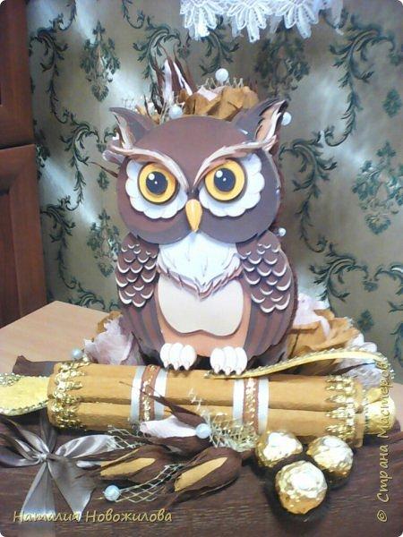 Мудрая сова с золотым пером для директора школы, подарок на день рождения: оформление банки кофе и коробки печенья. Золотое перо из шоколадок. фото 2