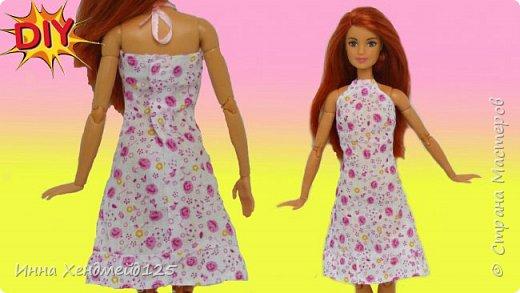 Сшила летние платья из хлопка для кукол Барби. Одежда получилась милой, нежной и с летним настроением.  Материалы: хлопок, нить, лента, кнопки.