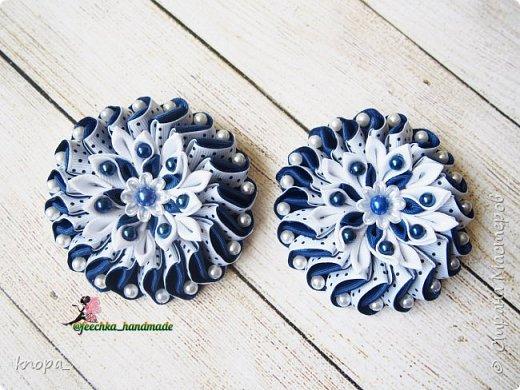 Зефирки из репсовых лент с цветочной серединкой