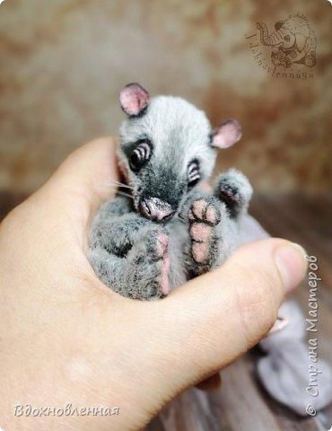 Добрый день, друзья! Давно я тут не показывалась, хоть новые работы появлялись и есть что Вам показать))  Этого крысенка зовут  Питт  Сшит из меха для миников. Имеет 10 шплинтов. Тяжеленький малыш ❤️ Ушки, нос и веки - сделаны из кожи, и учитывая размеры деталей - пинцет и иголки  мне в помощь ))) Тонирован акриловыми красками. Хвостик армирован. Кроватка так же сделана вручную