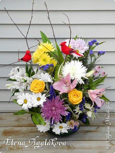 Добрый день! Сегодня я к вам снова с композициями из цветов. Прошлым летом я решила осуществить еще одну свою мечту - научится цветочному дизайну. Очень люблю цветы, травки-муравки, деревья и вообще все растения. Очень увлекательно работать с цветами! Я взяла небольшой курс по цветочному дизайну. Дома делаю аранжировки из того что под рукой, беру цветы которые найду, даже полевые и из своего садика. Люблю использовать разные веточки, травинки... Делюсь красотой!  фото 2