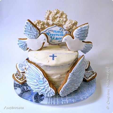 Сегодня крестины нашего сыночка Ильи. Я испекла вот такой вот тортик. Он очень вкусный и по моему красивый.  Хочу поделиться секретами приготовления такого тортика. фото 1