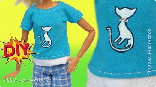Для кукол Барби сшила футболку. У кукол появилась новая обновочка в гардеробе:) Материалы: трикотаж, нить, краски, стразы, кнопки, флизелин.