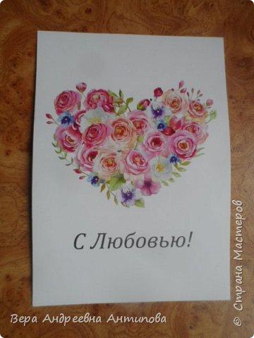 Всем добрый день! В начале июня моей коллеге было 55 лет, смастерила ей в подарок вот такую открытку конвертик в любимых ее цветах. фото 4