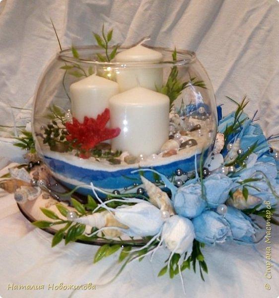 Всем жителям Страны мастеров доброго времени суток. Поступил мне заказ на юбилей: что-нибудь в морском стиле и чтоб на камин можно было поставить. Вот и родилась у меня такая композиция со свечами в аквариуме и конфетами в розах. фото 2