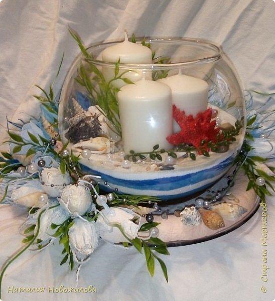 Всем жителям Страны мастеров доброго времени суток. Поступил мне заказ на юбилей: что-нибудь в морском стиле и чтоб на камин можно было поставить. Вот и родилась у меня такая композиция со свечами в аквариуме и конфетами в розах. фото 1