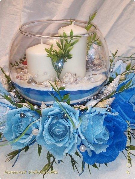 Всем жителям Страны мастеров доброго времени суток. Поступил мне заказ на юбилей: что-нибудь в морском стиле и чтоб на камин можно было поставить. Вот и родилась у меня такая композиция со свечами в аквариуме и конфетами в розах. фото 4