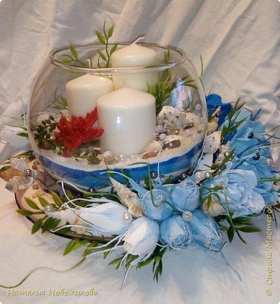 Всем жителям Страны мастеров доброго времени суток. Поступил мне заказ на юбилей: что-нибудь в морском стиле и чтоб на камин можно было поставить. Вот и родилась у меня такая композиция со свечами в аквариуме и конфетами в розах. фото 6