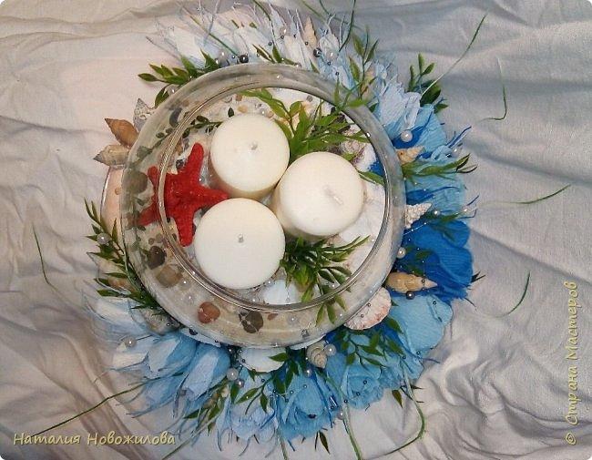 Всем жителям Страны мастеров доброго времени суток. Поступил мне заказ на юбилей: что-нибудь в морском стиле и чтоб на камин можно было поставить. Вот и родилась у меня такая композиция со свечами в аквариуме и конфетами в розах. фото 5