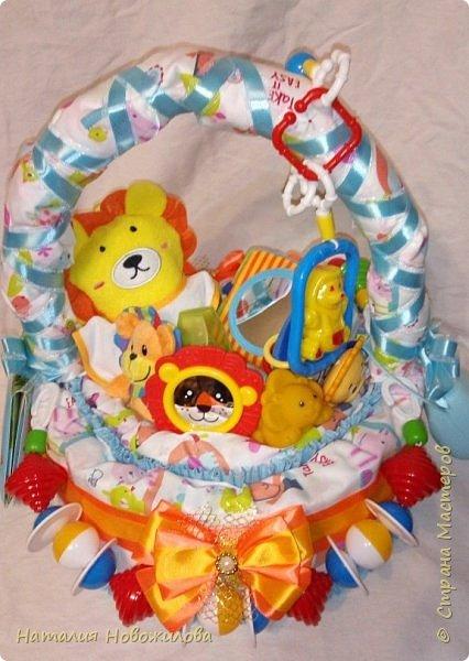 Эта корзина из памперсов была сделана на рождение внука у наших друзей.Мальчика назвали Лев, поэтому содержимое памперсной корзины составляют игрушки, погремушки, мочалка-рукавичка, бутылочка, соски, книжечка, нагрудники, пеленки  изображающие или с изображением льва. Пришлось немало походить по магазинам, чтобы все это найти, но результат стоил того. фото 1