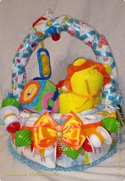 Эта корзина из памперсов была сделана на рождение внука у наших друзей.Мальчика назвали Лев, поэтому содержимое памперсной корзины составляют игрушки, погремушки, мочалка-рукавичка, бутылочка, соски, книжечка, нагрудники, пеленки  изображающие или с изображением льва. Пришлось немало походить по магазинам, чтобы все это найти, но результат стоил того. фото 3