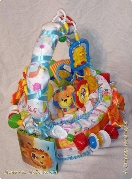 Эта корзина из памперсов была сделана на рождение внука у наших друзей.Мальчика назвали Лев, поэтому содержимое памперсной корзины составляют игрушки, погремушки, мочалка-рукавичка, бутылочка, соски, книжечка, нагрудники, пеленки  изображающие или с изображением льва. Пришлось немало походить по магазинам, чтобы все это найти, но результат стоил того. фото 4