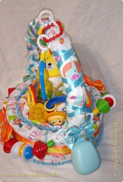 Эта корзина из памперсов была сделана на рождение внука у наших друзей.Мальчика назвали Лев, поэтому содержимое памперсной корзины составляют игрушки, погремушки, мочалка-рукавичка, бутылочка, соски, книжечка, нагрудники, пеленки  изображающие или с изображением льва. Пришлось немало походить по магазинам, чтобы все это найти, но результат стоил того. фото 5